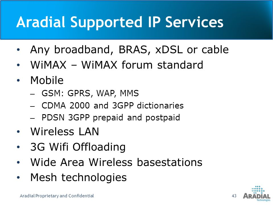 Aradial Supported IP Services