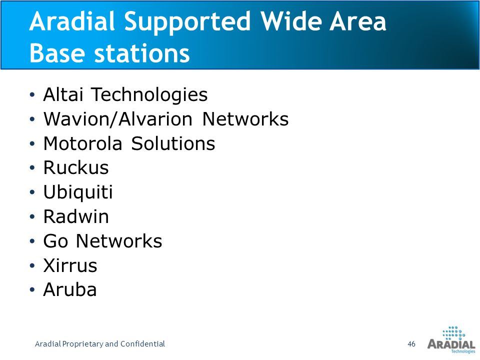 Aradial Supported Wide Area Base stations