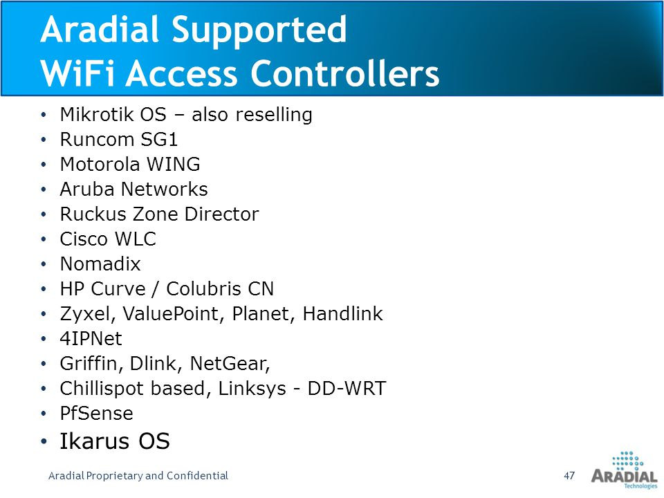 Aradial Supported WiFi Access Controllers