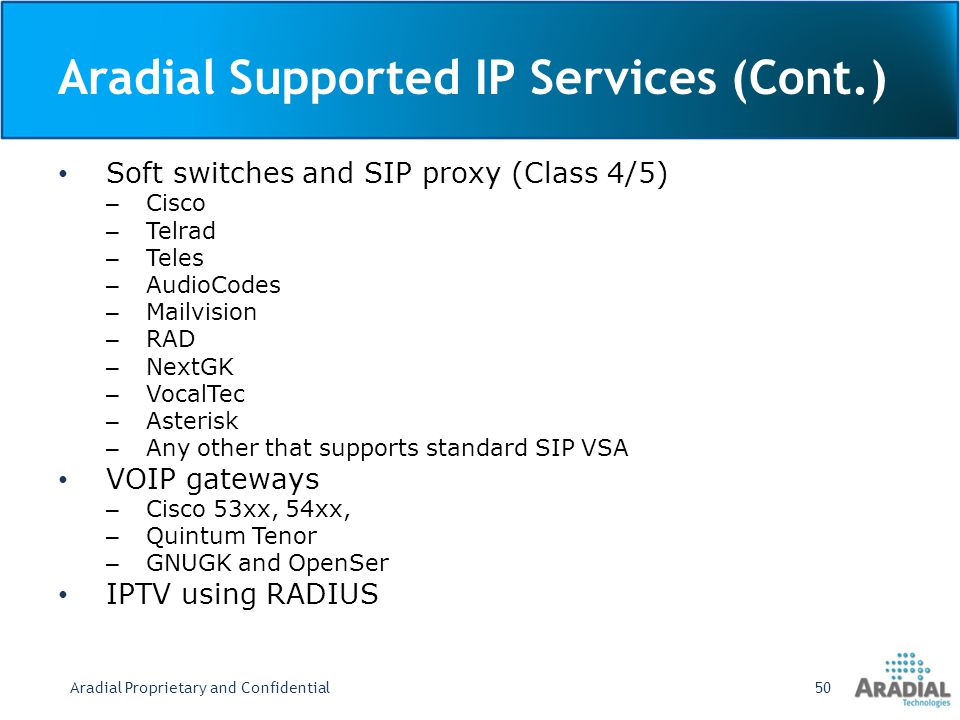 Aradial Supported IP Services (Cont.)