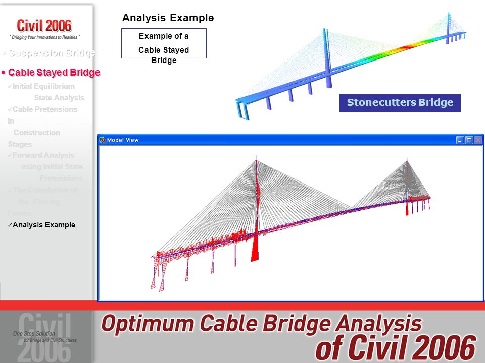Analysis Example Stonecutters Bridge Example of a Cable Stayed Bridge