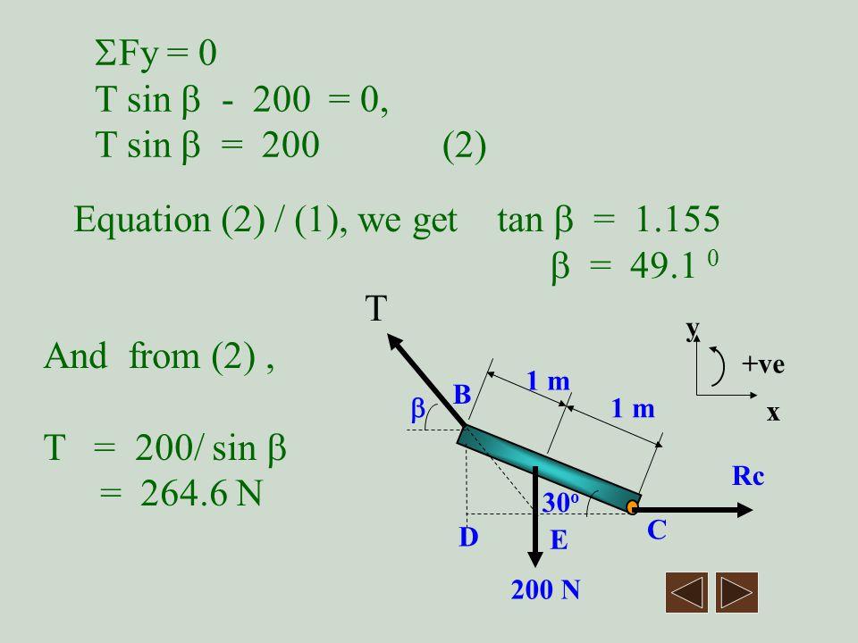 Equation (2) / (1), we get tan  = 1.155  = 49.1 0