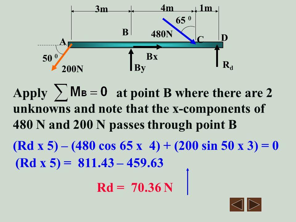 (Rd x 5) – (480 cos 65 x 4) + (200 sin 50 x 3) = 0