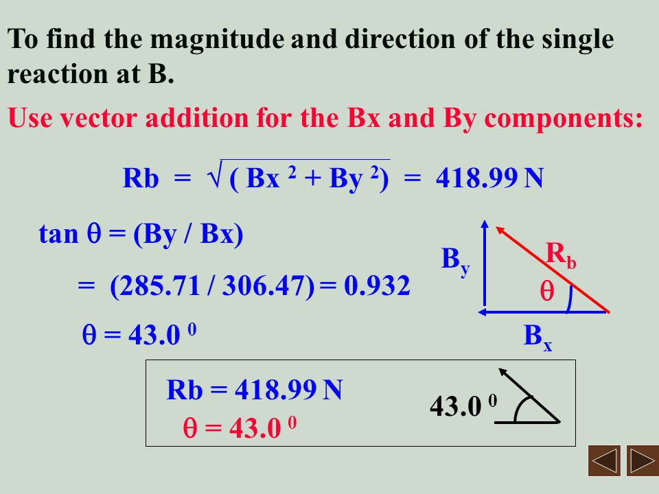 To find the magnitude and direction of the single reaction at B.