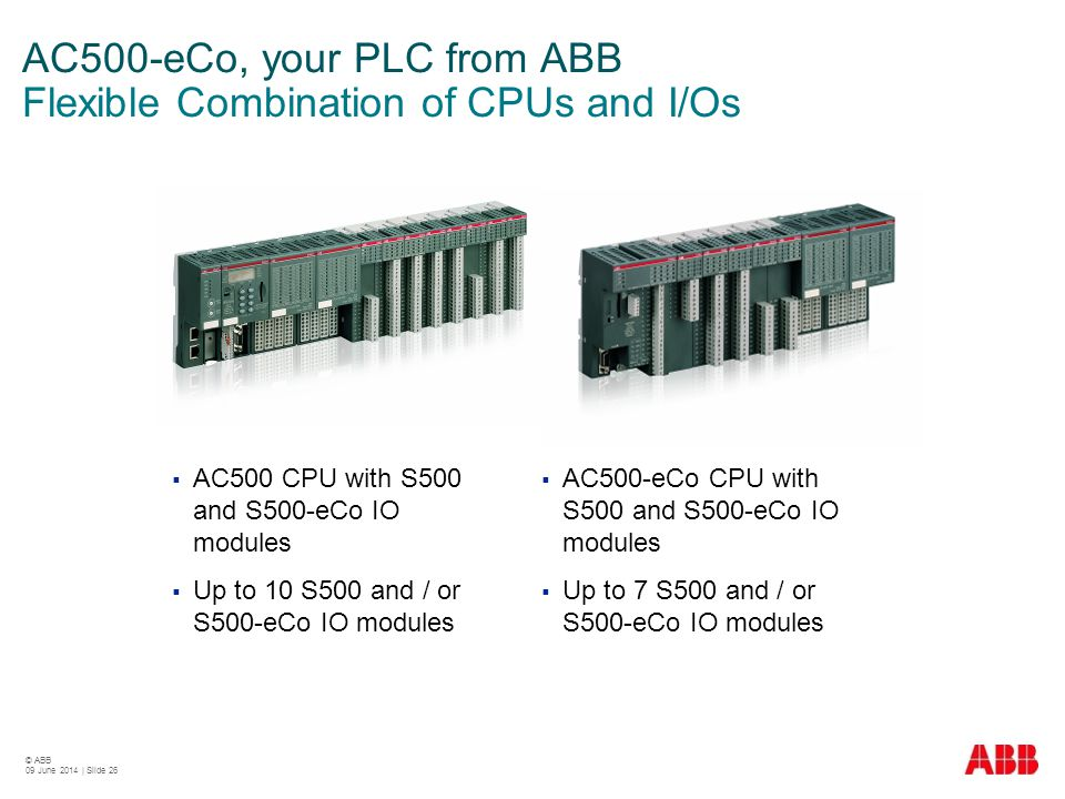 AC500-eCo, your PLC from ABB Flexible Combination of CPUs and I/Os