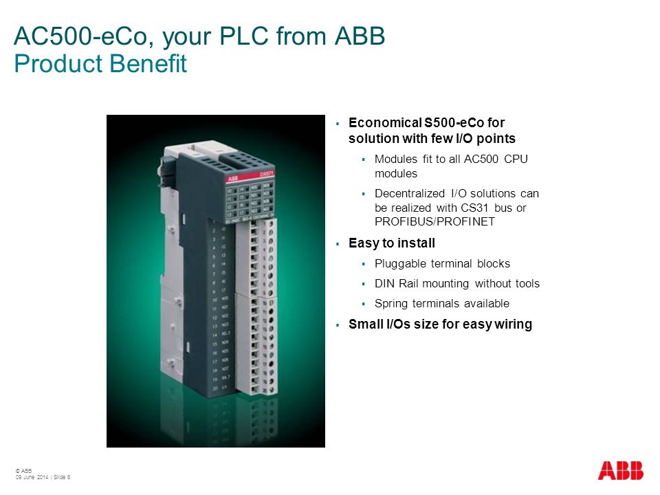 AC500-eCo, your PLC from ABB Product Benefit