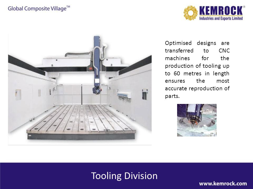 Optimised designs are transferred to CNC machines for the production of tooling up to 60 metres in length ensures the most accurate reproduction of parts.