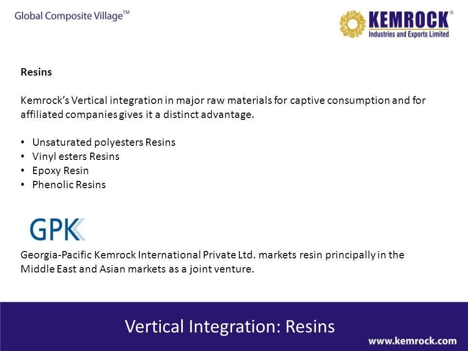 Vertical Integration: Resins