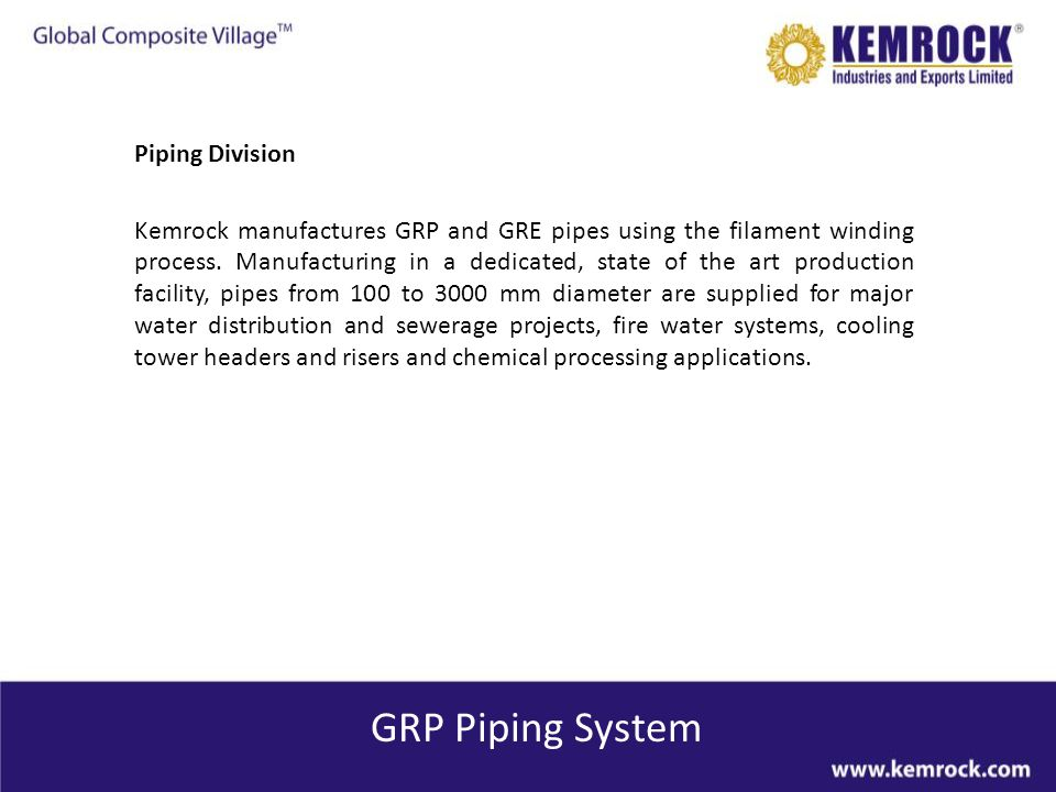 GRP Piping System Piping Division