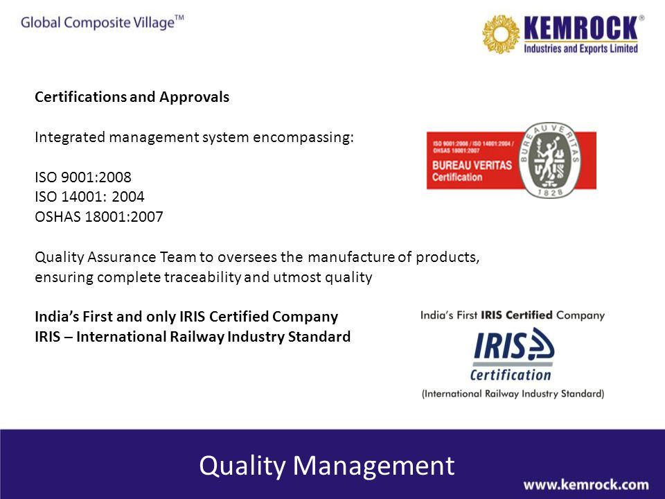 Quality Management Certifications and Approvals