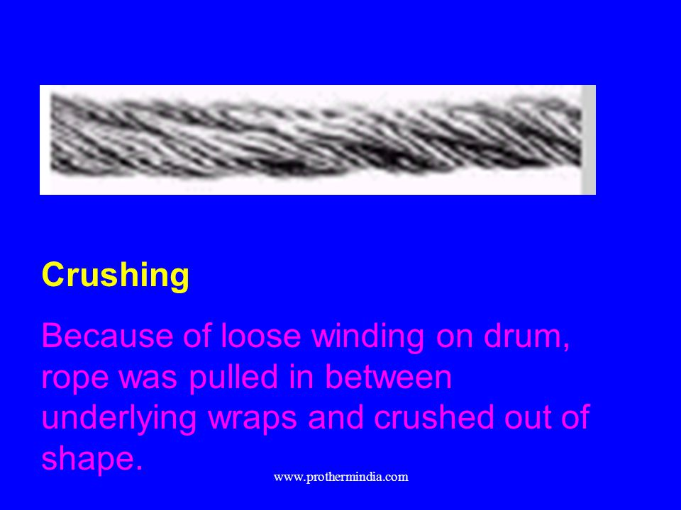 Crushing Because of loose winding on drum, rope was pulled in between underlying wraps and crushed out of shape.