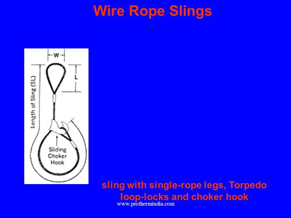 sling with single-rope legs, Torpedo loop-locks and choker hook