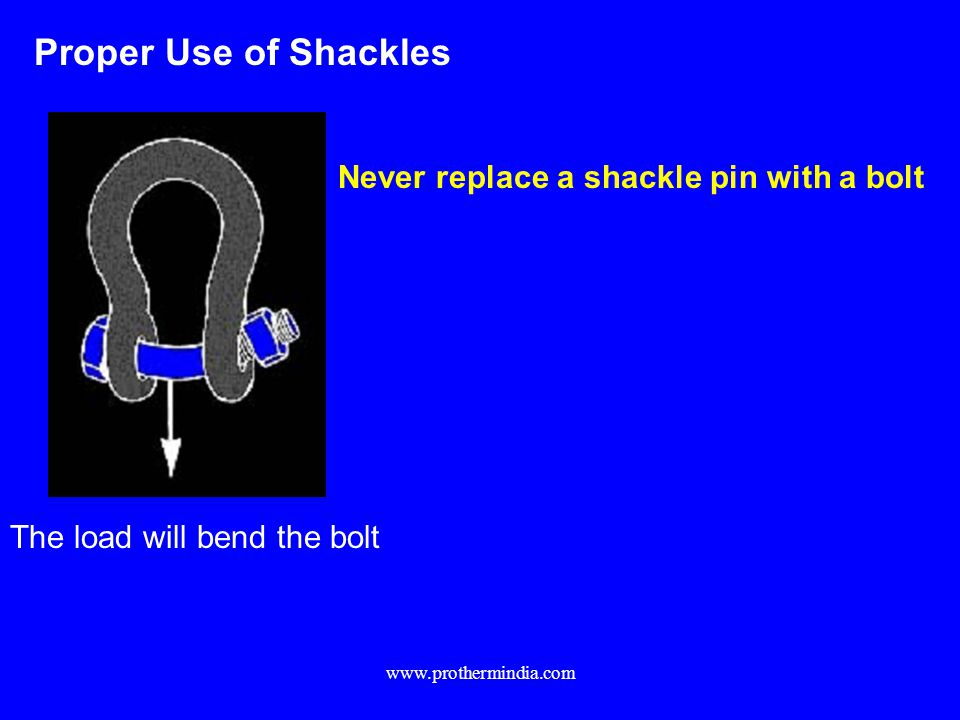 Proper Use of Shackles Never replace a shackle pin with a bolt