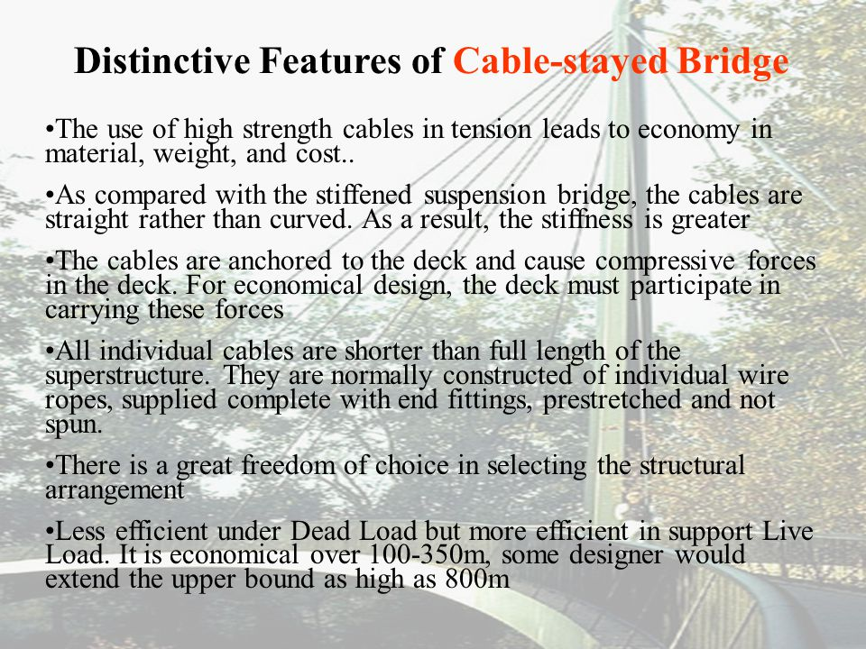Distinctive Features of Cable-stayed Bridge