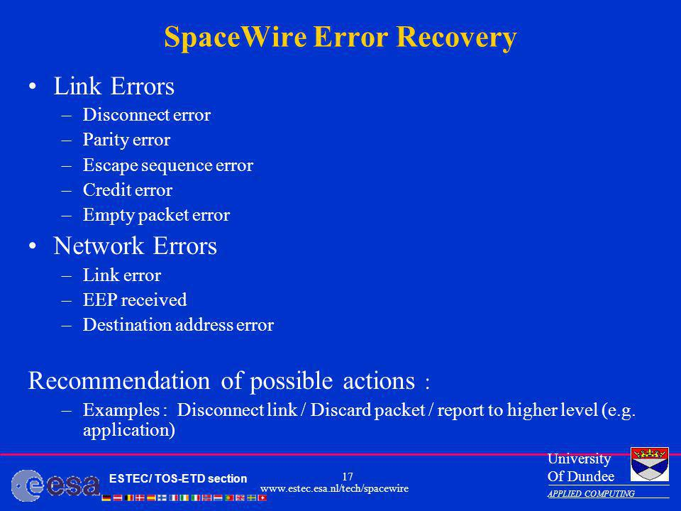 SpaceWire Error Recovery