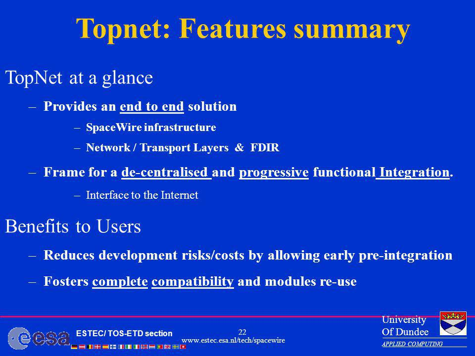 Topnet: Features summary