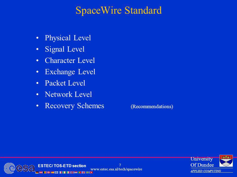 SpaceWire Standard Physical Level Signal Level Character Level