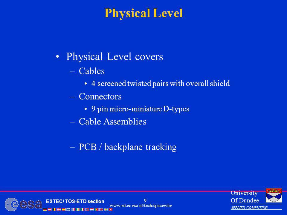 Physical Level Physical Level covers Cables Connectors