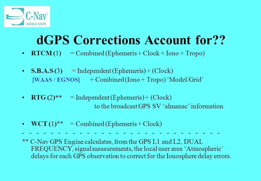 dGPS Corrections Account for