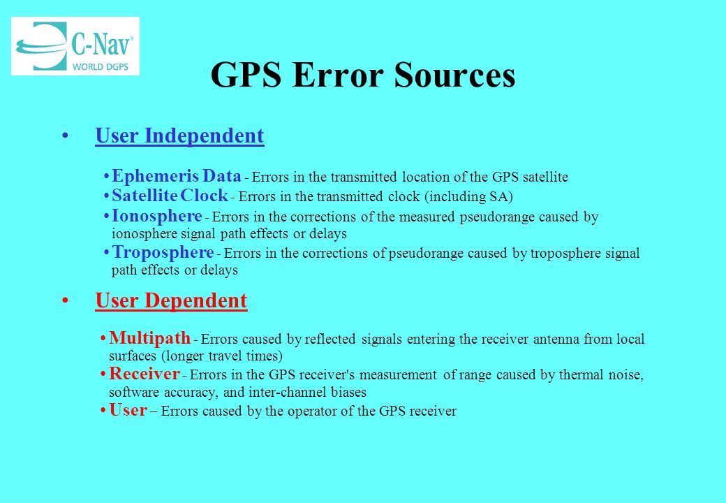 GPS Error Sources User Independent User Dependent