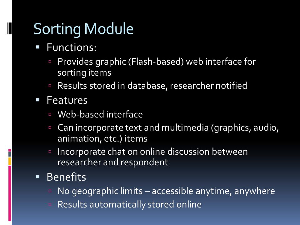 Sorting Module Functions: Features Benefits