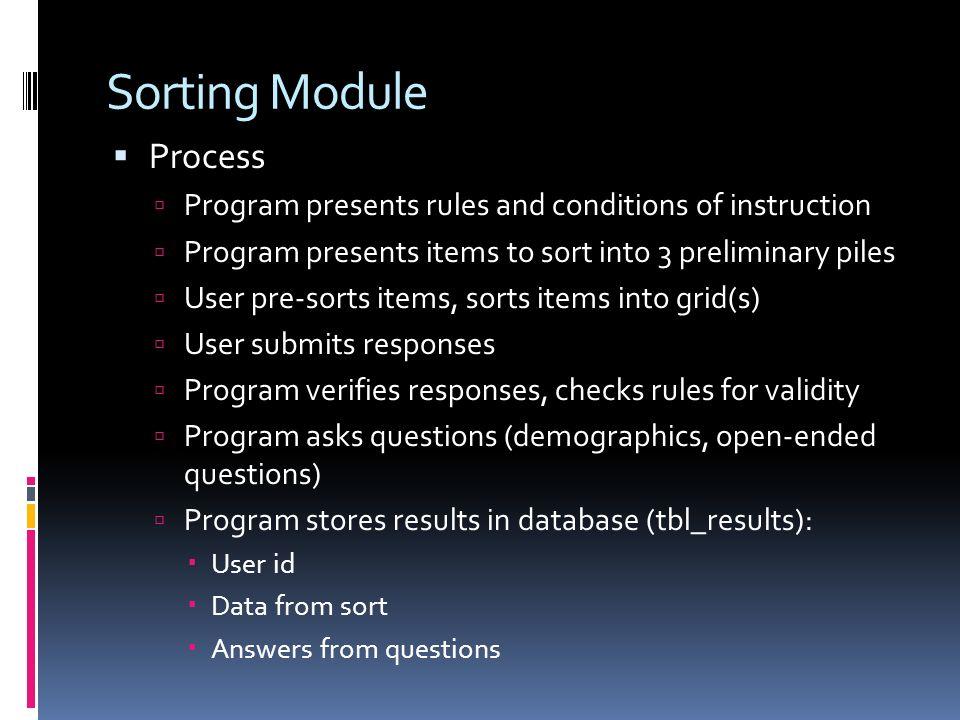 Sorting Module Process
