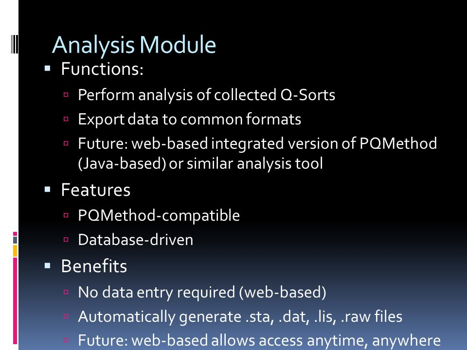 Analysis Module Functions: Features Benefits