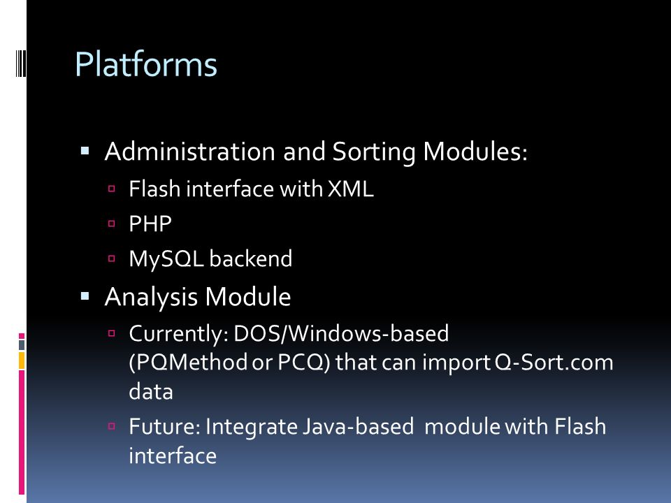 Platforms Administration and Sorting Modules: Analysis Module