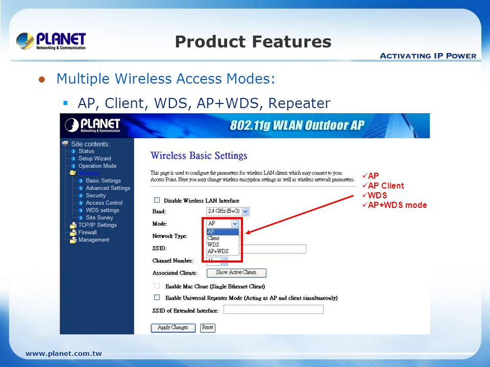 Product Features Multiple Wireless Access Modes: