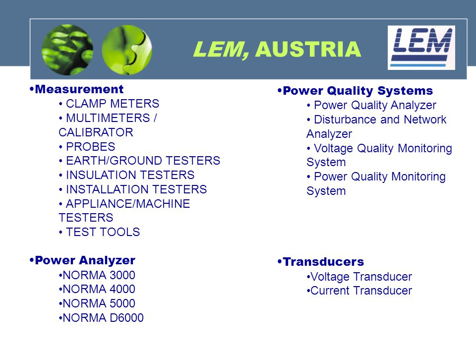 LEM, AUSTRIA Measurement Power Quality Systems CLAMP METERS