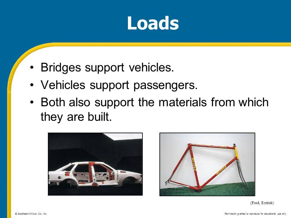 Loads Bridges support vehicles. Vehicles support passengers.