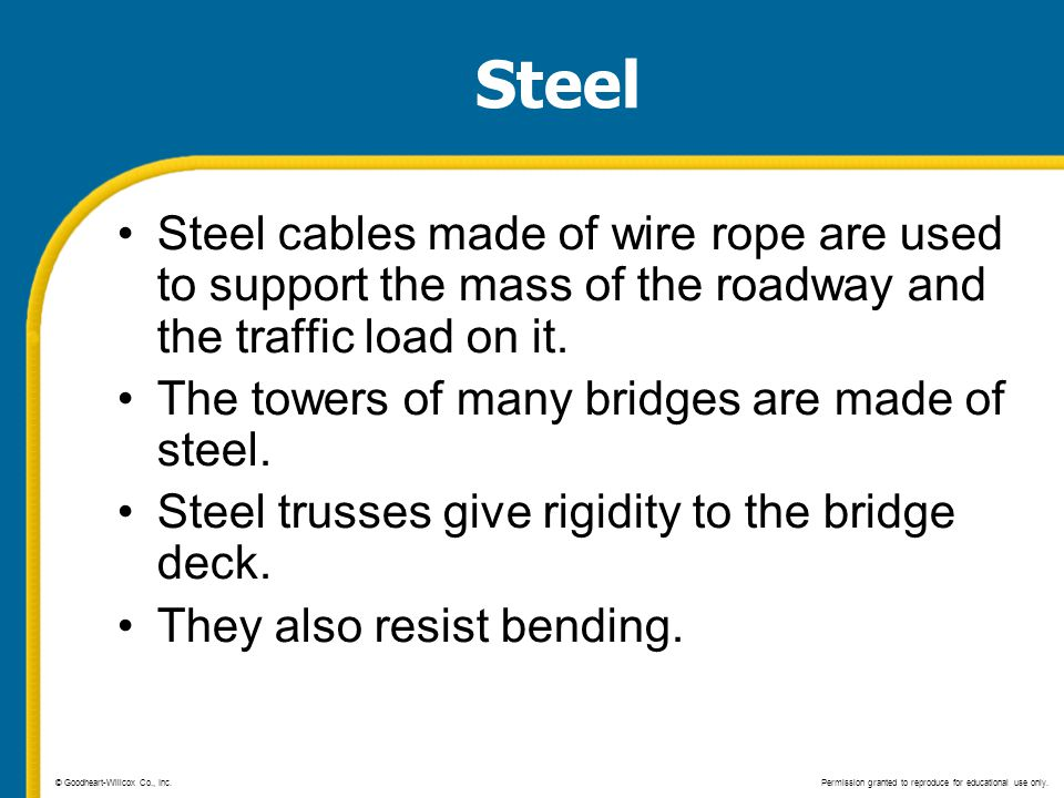 Steel Steel cables made of wire rope are used to support the mass of the roadway and the traffic load on it.