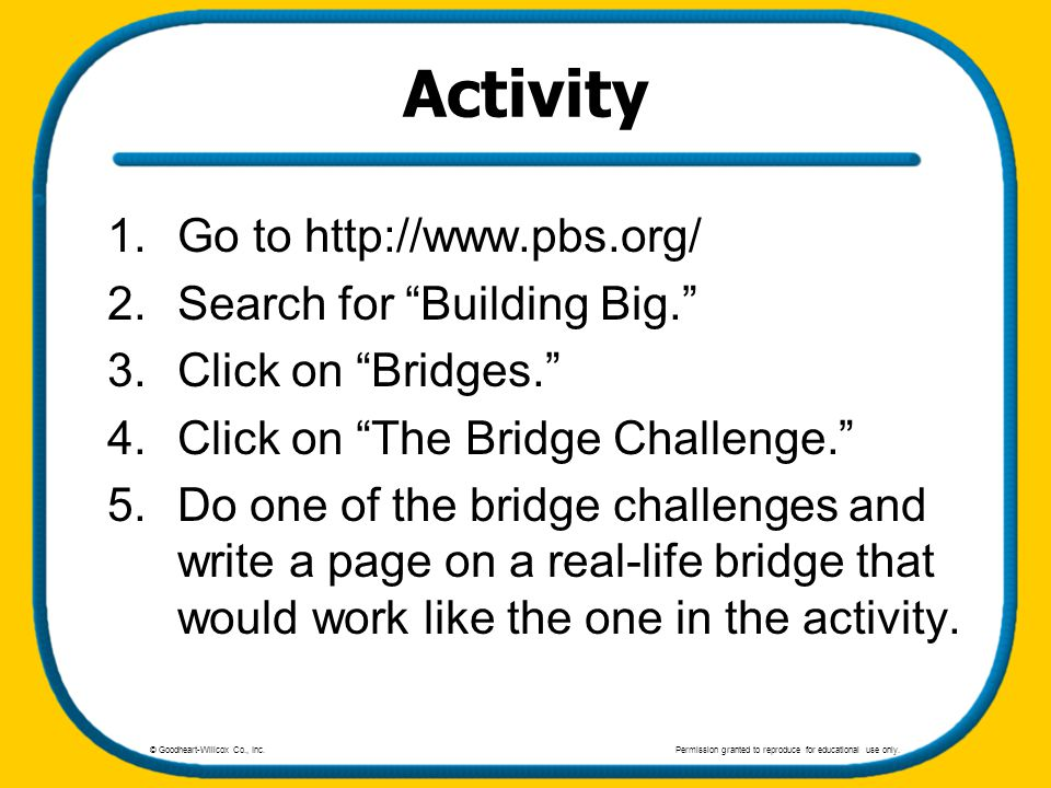 Activity Go to http://www.pbs.org/ Search for Building Big.