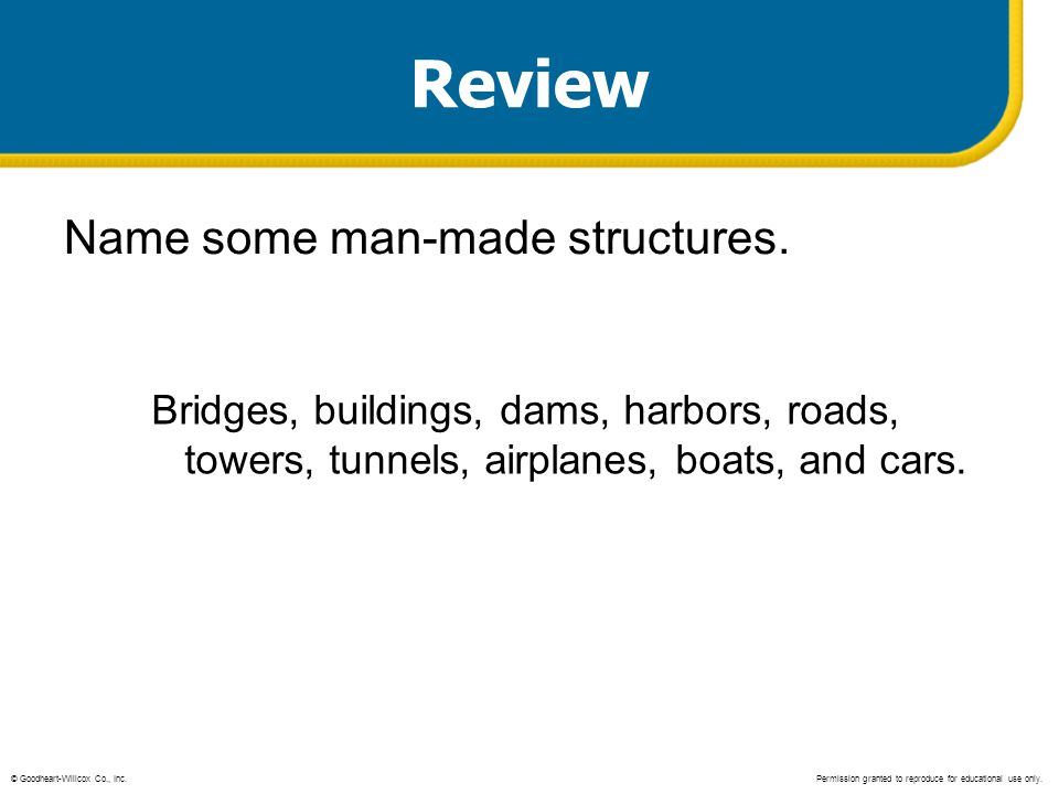 Review Name some man-made structures.