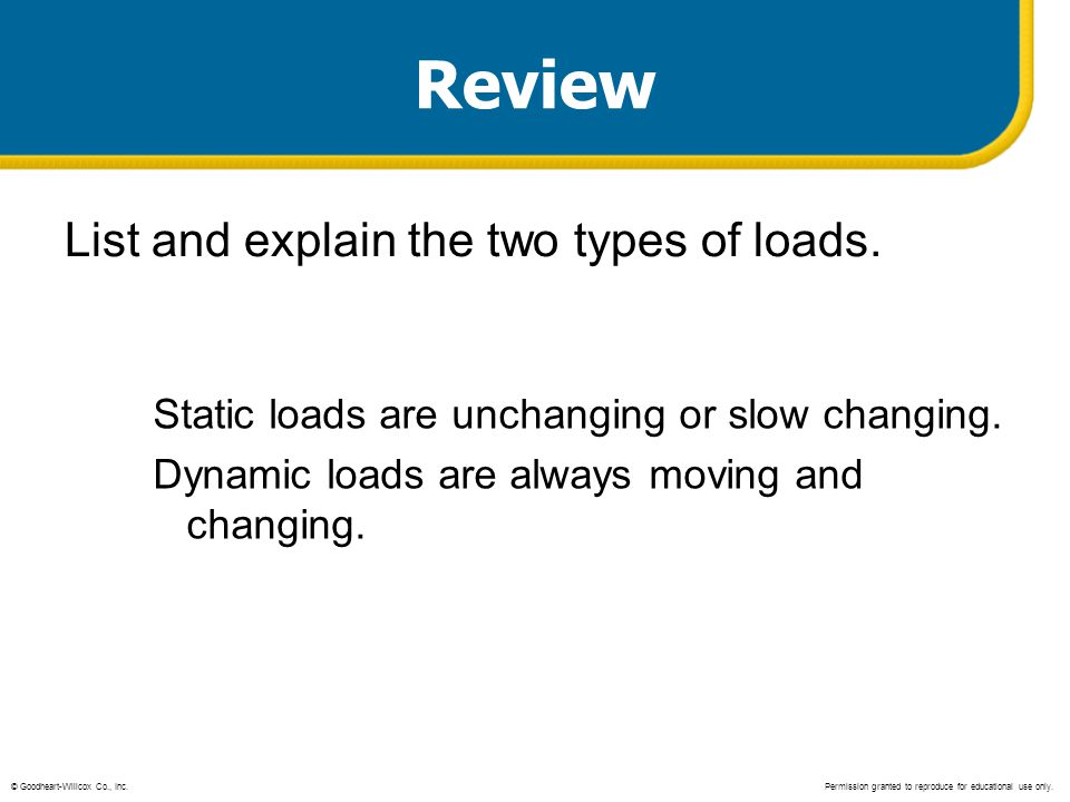 Review List and explain the two types of loads.