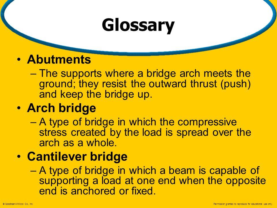 Glossary Abutments Arch bridge Cantilever bridge