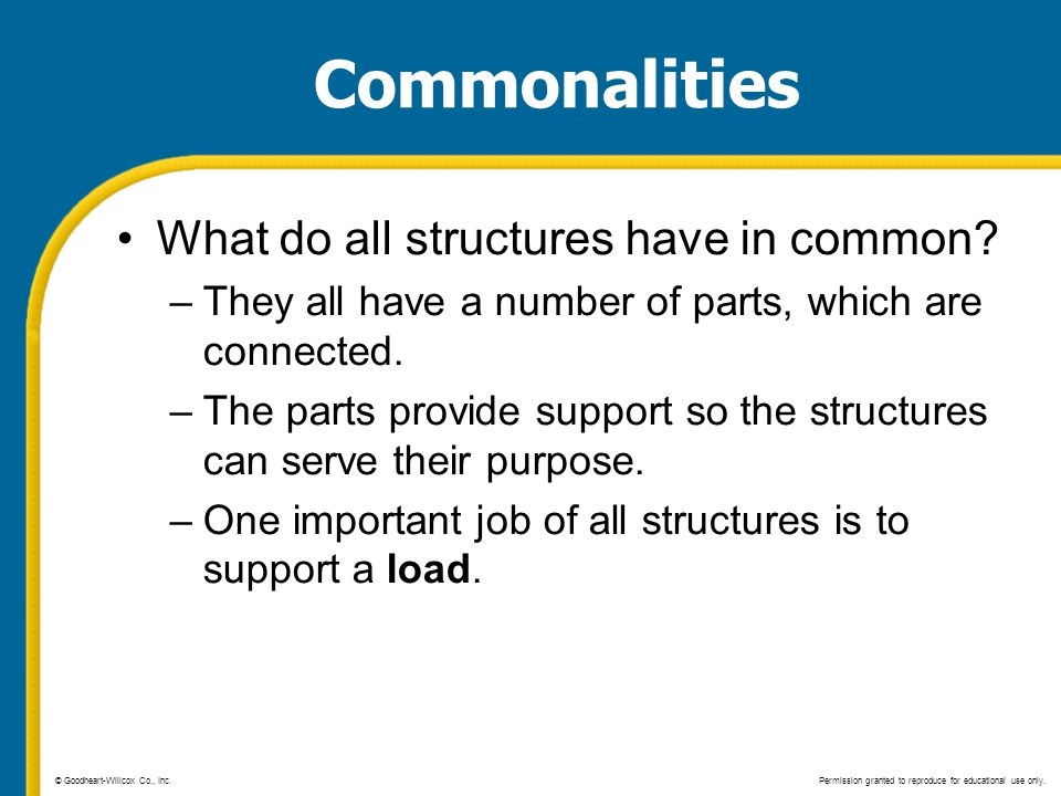 Commonalities What do all structures have in common