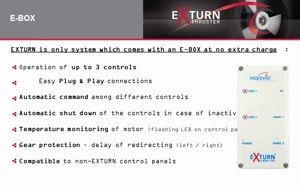 E-BOX EXTURN is only system which comes with an E-BOX at no extra charge : Operation of up to 3 controls.