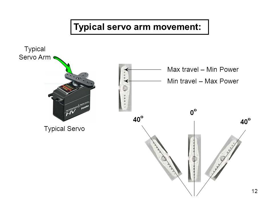 Typical servo arm movement: