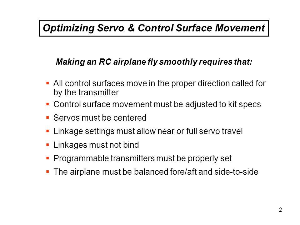 Optimizing Servo & Control Surface Movement