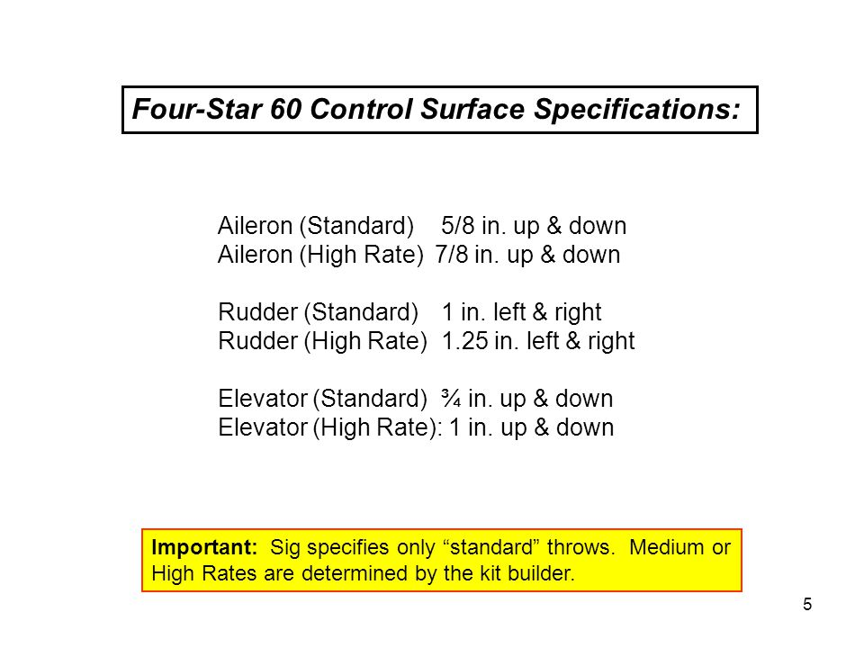 Four-Star 60 Control Surface Specifications: