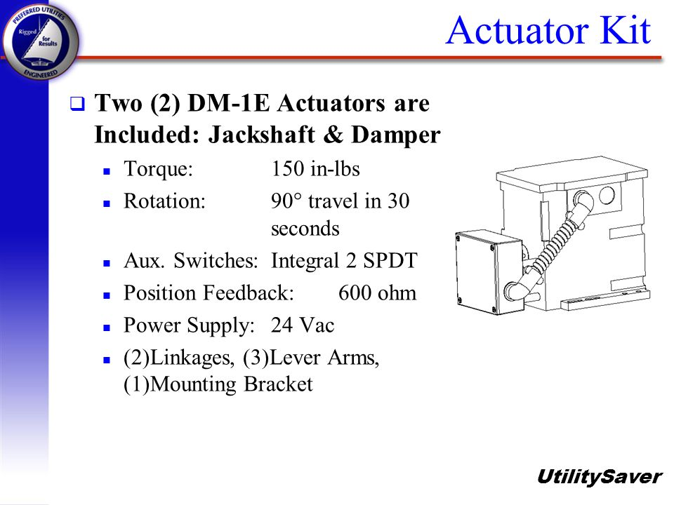 Actuator Kit Two (2) DM-1E Actuators are Included: Jackshaft & Damper