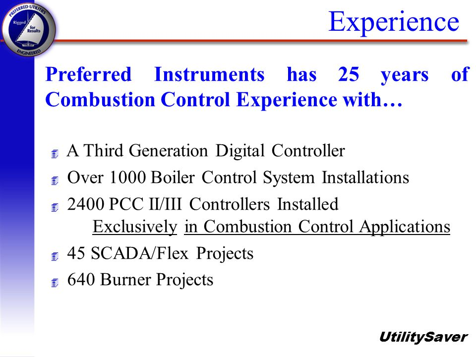 Experience Preferred Instruments has 25 years of Combustion Control Experience with… A Third Generation Digital Controller.