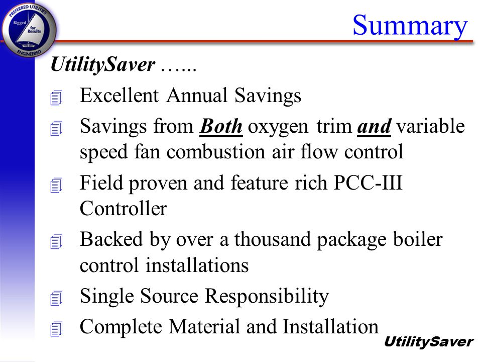 Summary UtilitySaver …... Excellent Annual Savings