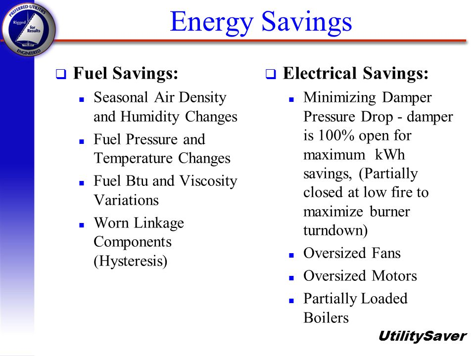 Energy Savings Fuel Savings: Electrical Savings: