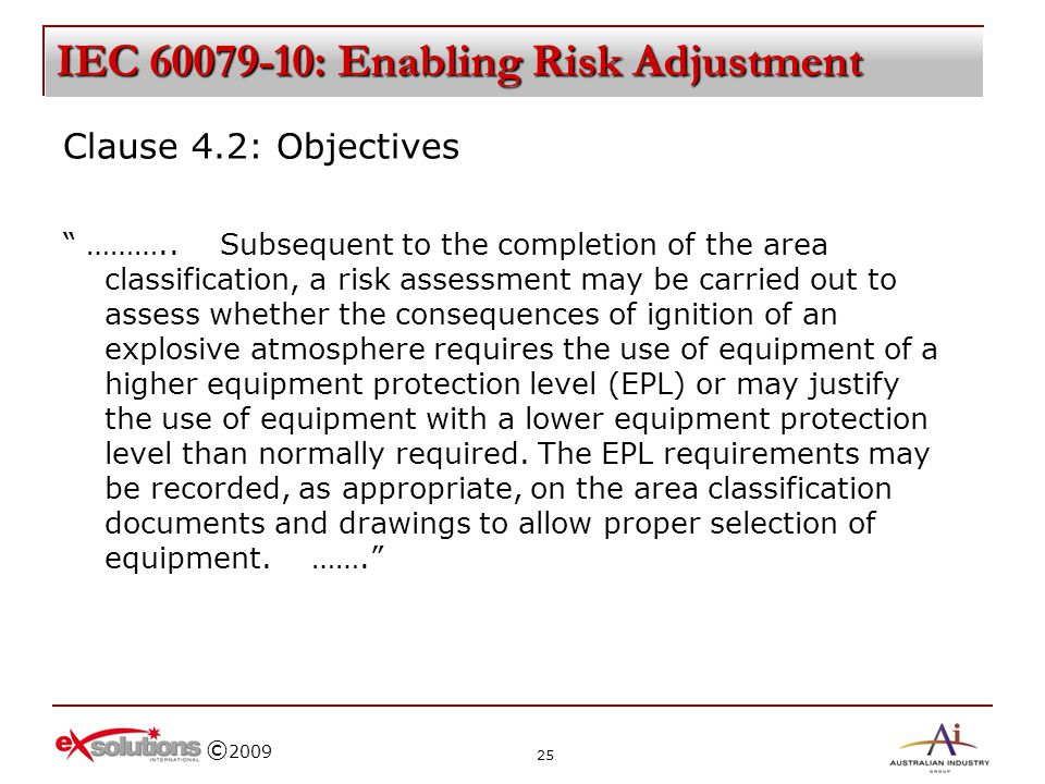 IEC 60079-10: Enabling Risk Adjustment