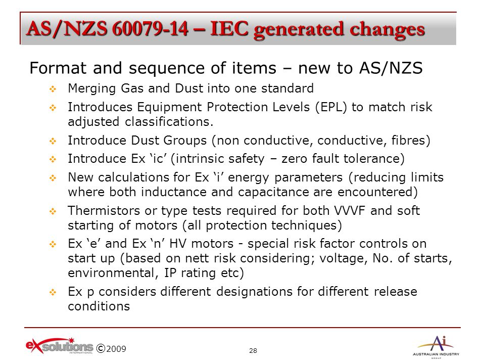 AS/NZS 60079-14 – IEC generated changes