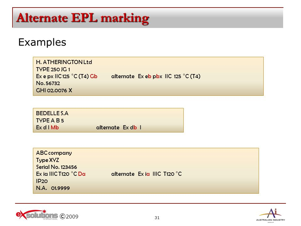 Alternate EPL marking Examples H. ATHERINGTON Ltd TYPE 250 JG 1