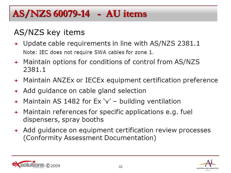 AS/NZS 60079-14 - AU items AS/NZS key items