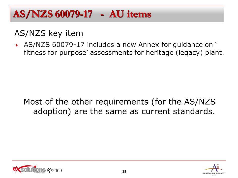 AS/NZS 60079-17 - AU items AS/NZS key item